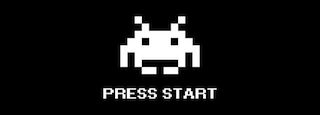 "8-bit video game alien, white on black , and the words ""press start"""