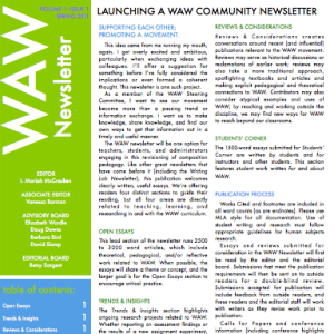 WAW Newsletter vol 1 issue 1 (thumbnail of first page)