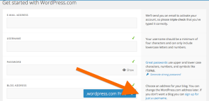 screenshot - wordpress register for just a username